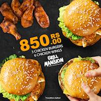 3 Burgers 6 Wings RS.850 only