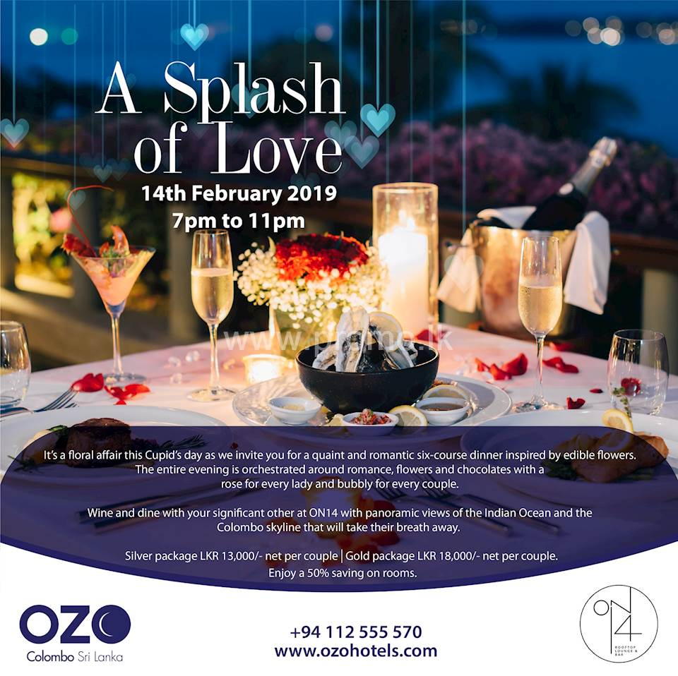 OZO Colombo invites you for a quaint and romantic dinner at ON14 Rooftop Bar and Lounge.