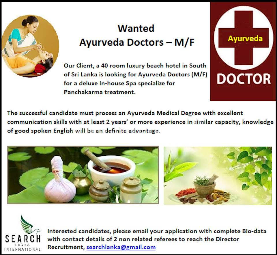 Wanted - Ayurveda Doctors – M/F