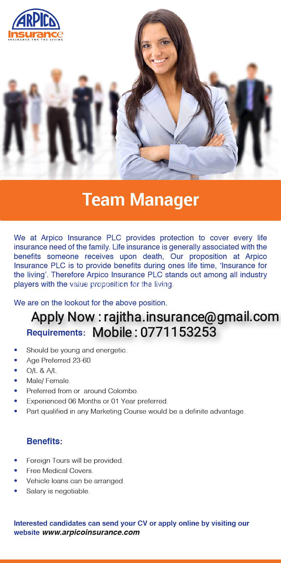 Life Insurance Sales Team Managers and Units Leaders.