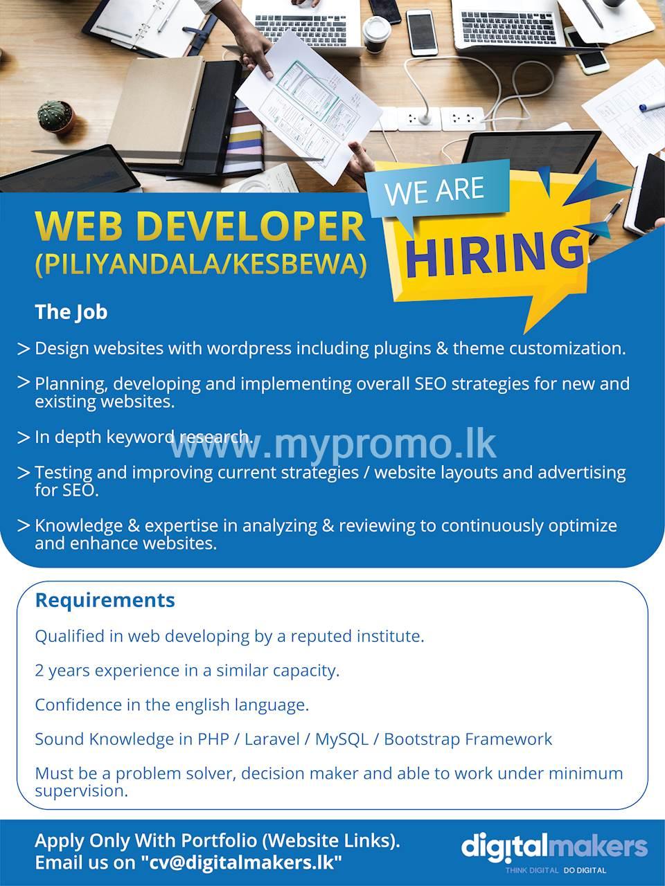 Web Developer (Piliyandala / Kesbewa)
