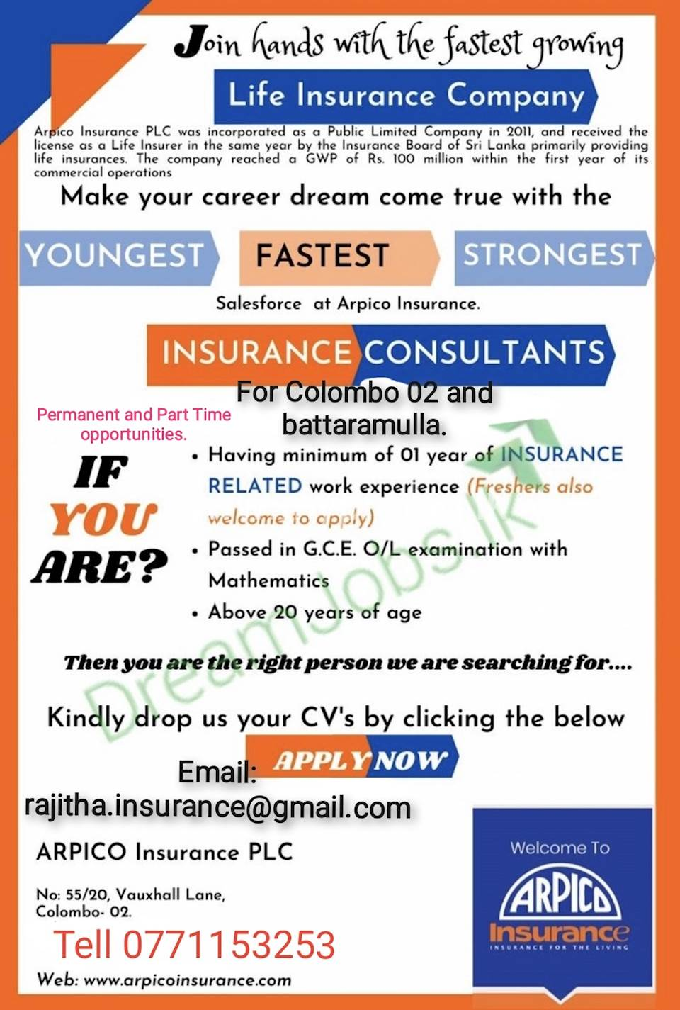 Life Insurance Consultant and Sales Executives..