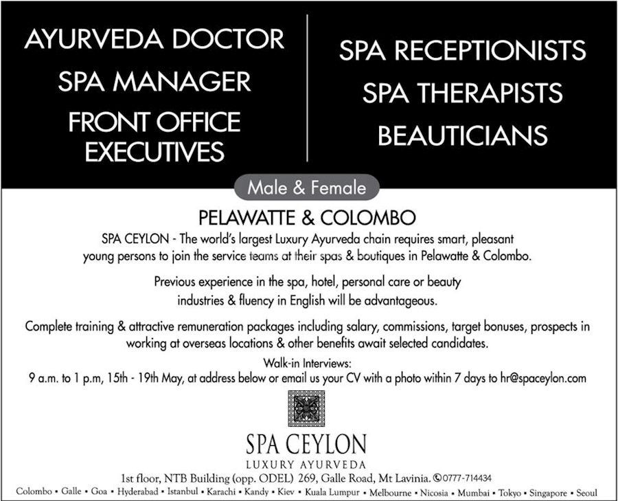 CAREERS at SPA CEYLON at Spa Ceylon Luxury Ayurveda