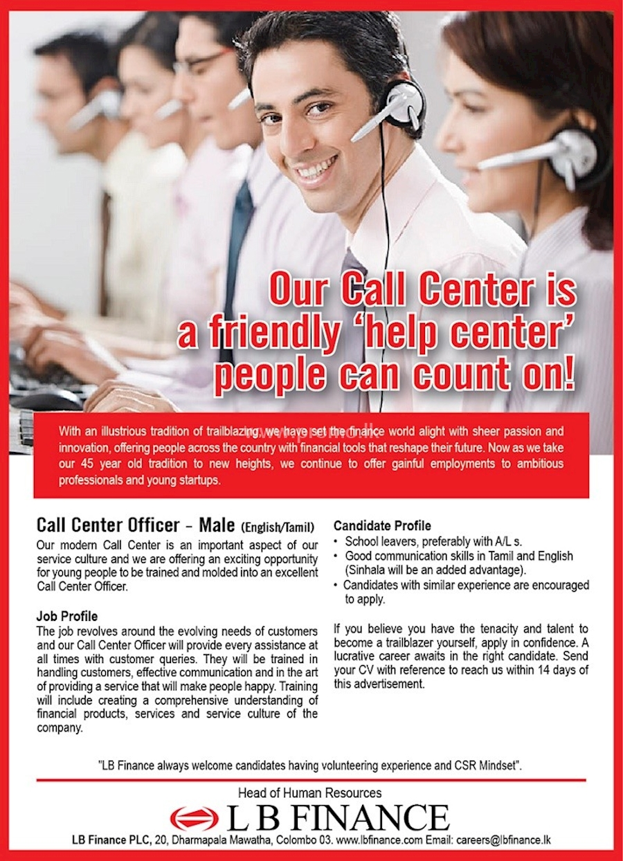 Call Center Officer Male At Lb Finance
