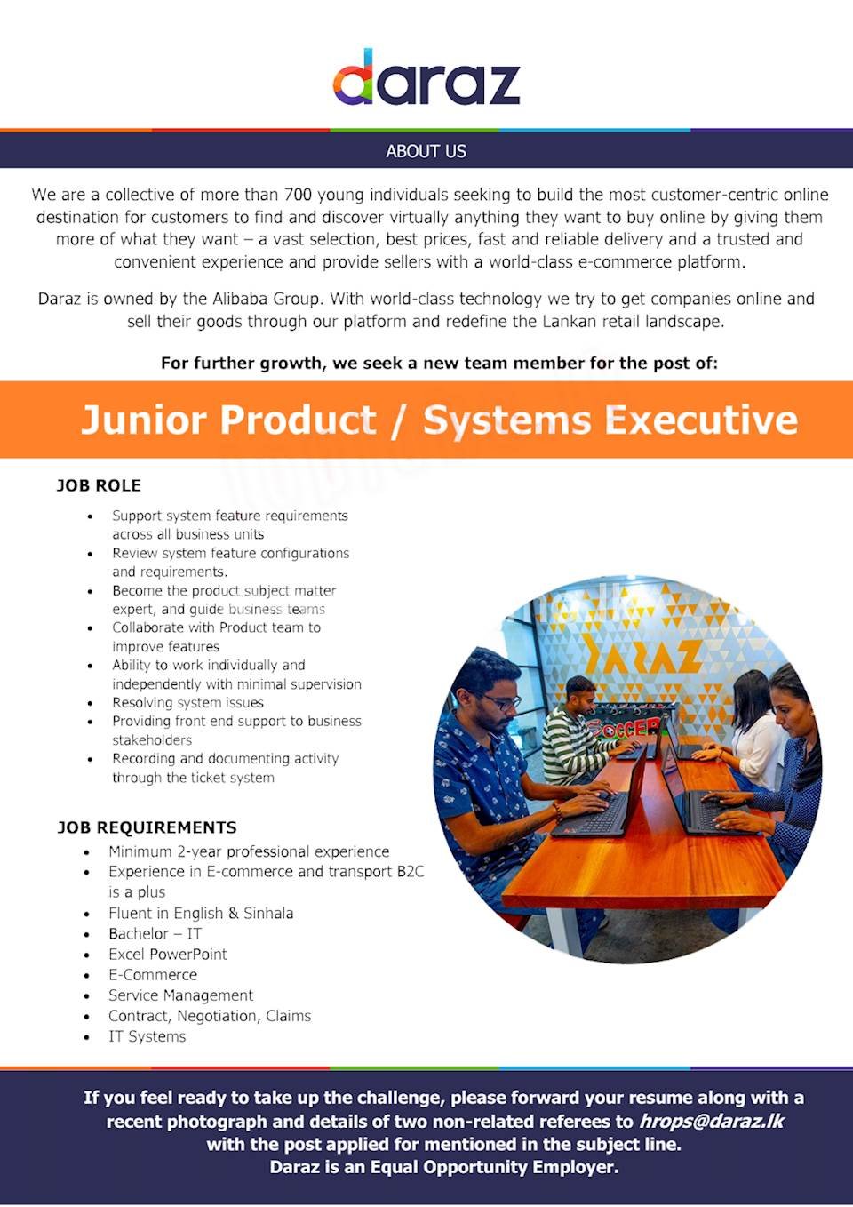 Junior Product / Systems Executive
