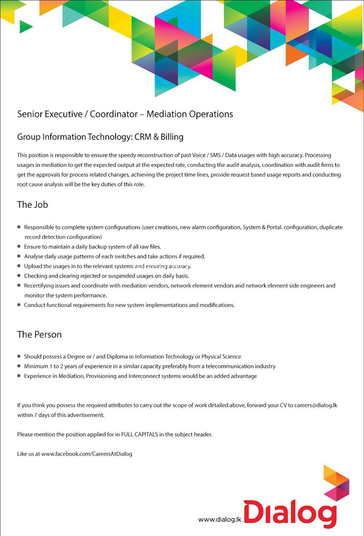 Senior Executive/Coordinator - Mediation Operations