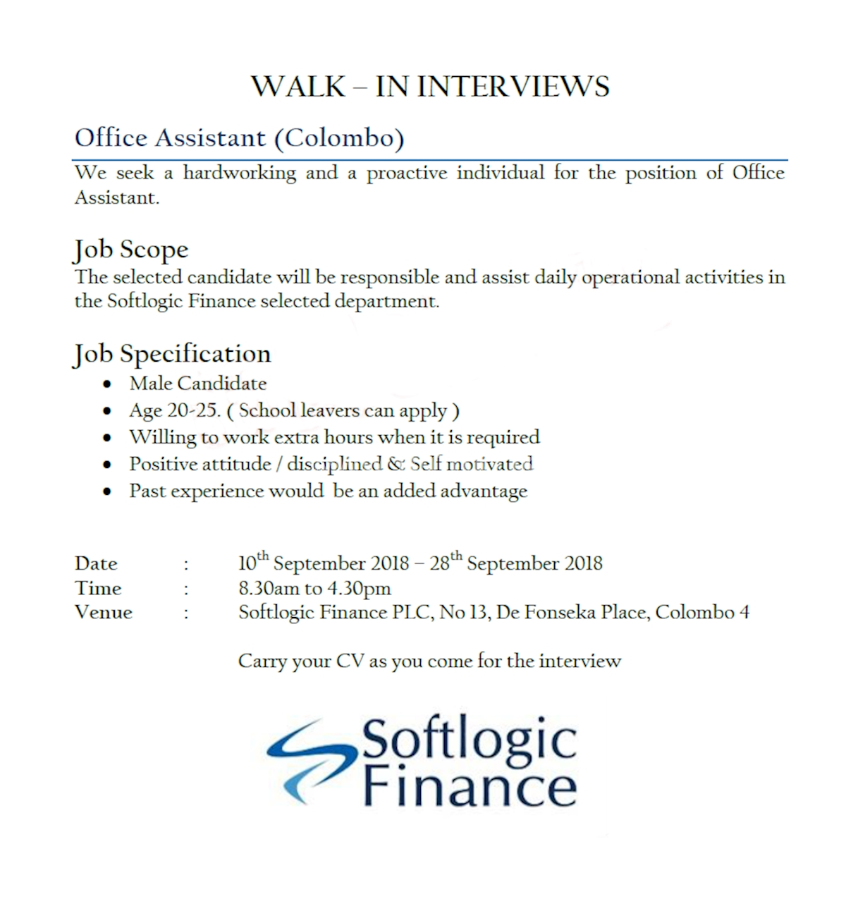 Office Assistant (Colombo) at Softlogic Holdings PLC