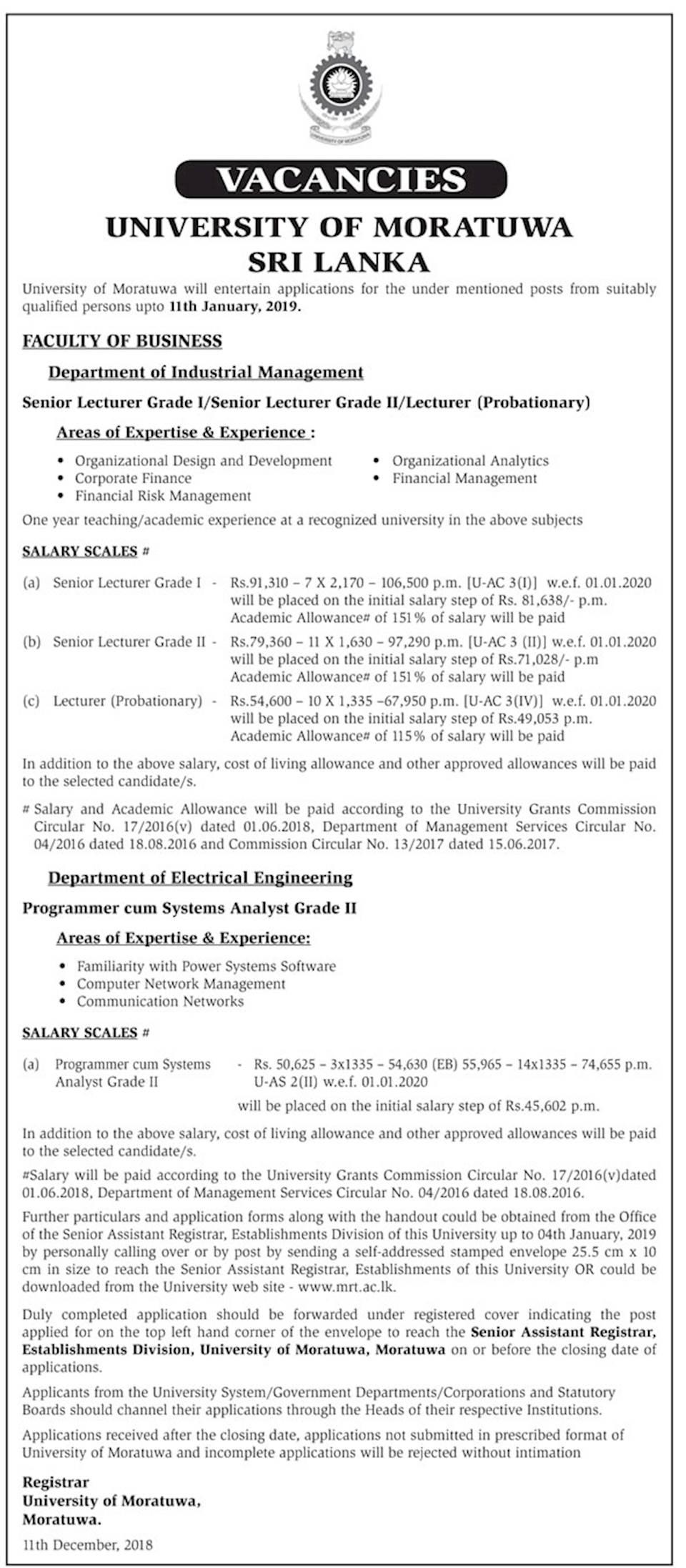 Vacancies at University of Moratuwa