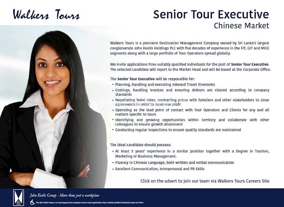 Senior Tour Executive - Chinese Market