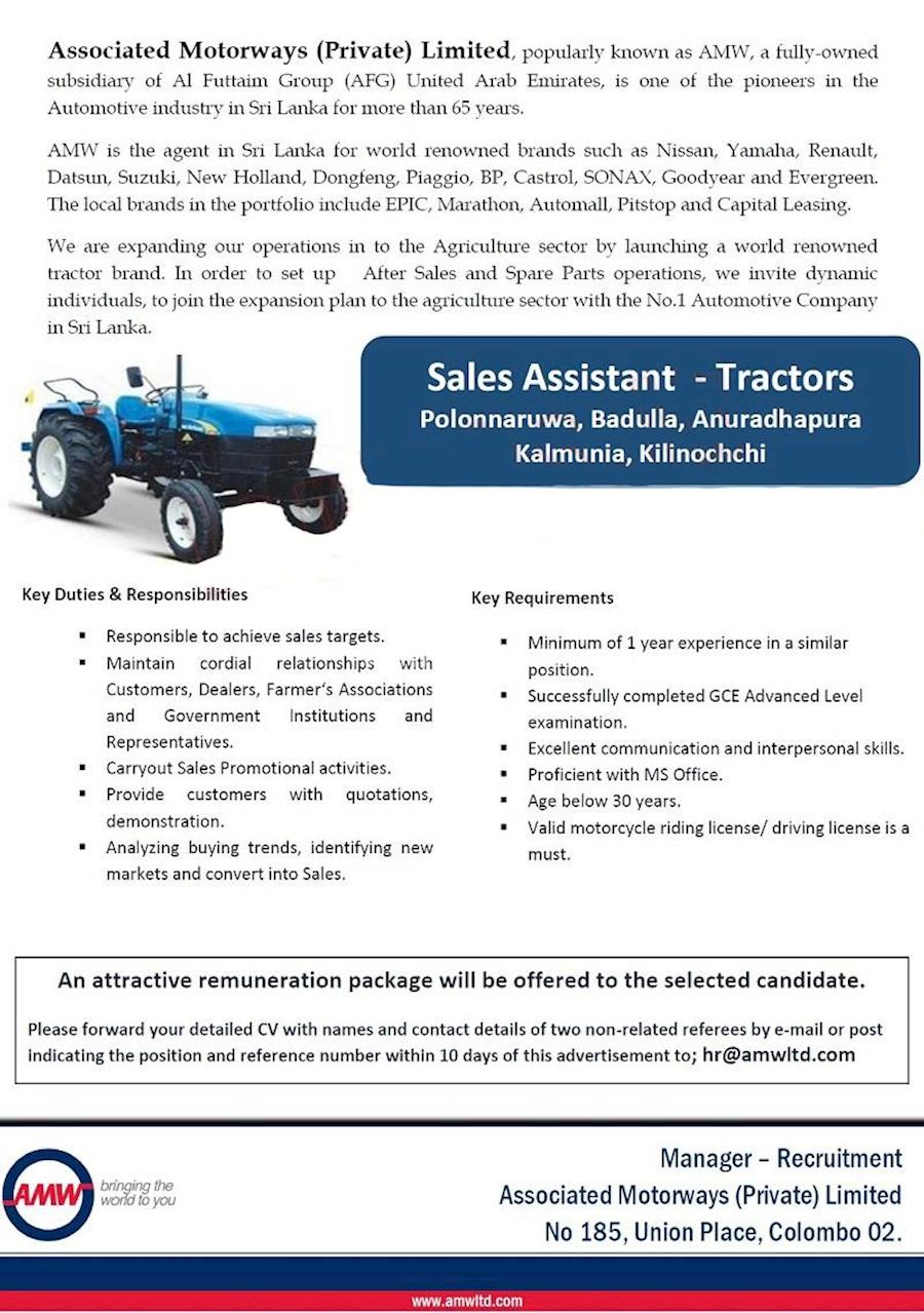 Sales Assistant - Tractors - Polonnaruwa, Badulla