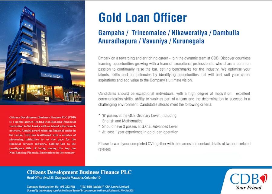 Gold Loan Officer - Gampaha / Trincomalee / Nikaweratiya