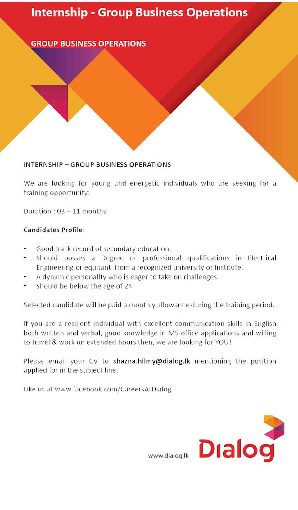 Internship - Group Business Operations at Dialog Axiata