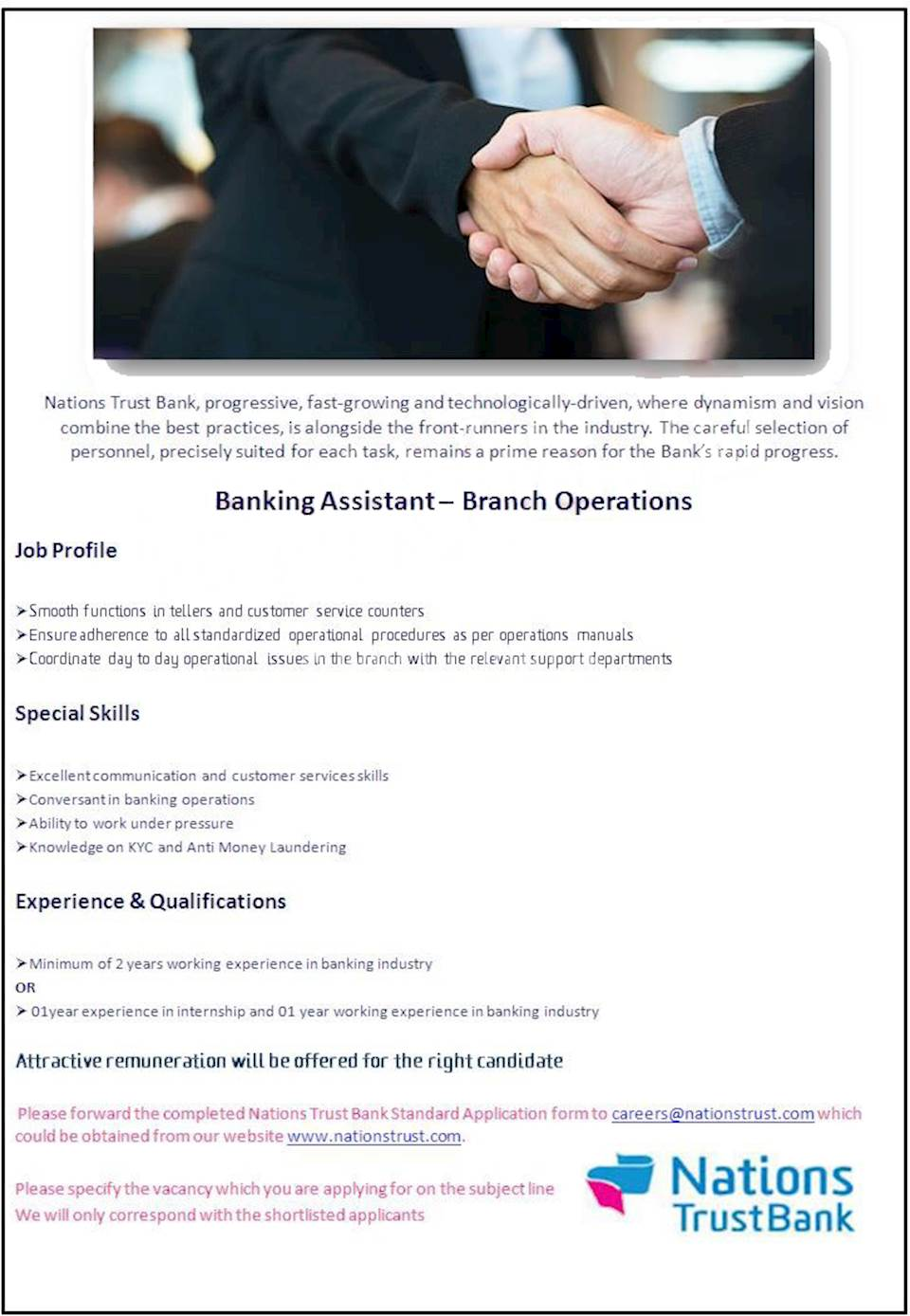 Banking Assistant - Branch Operations