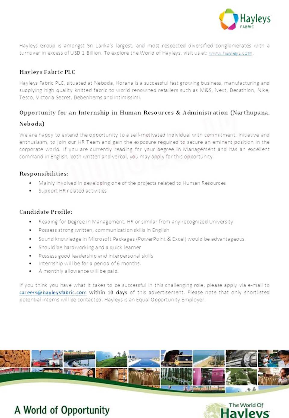 Internship in Human Resources & Administration