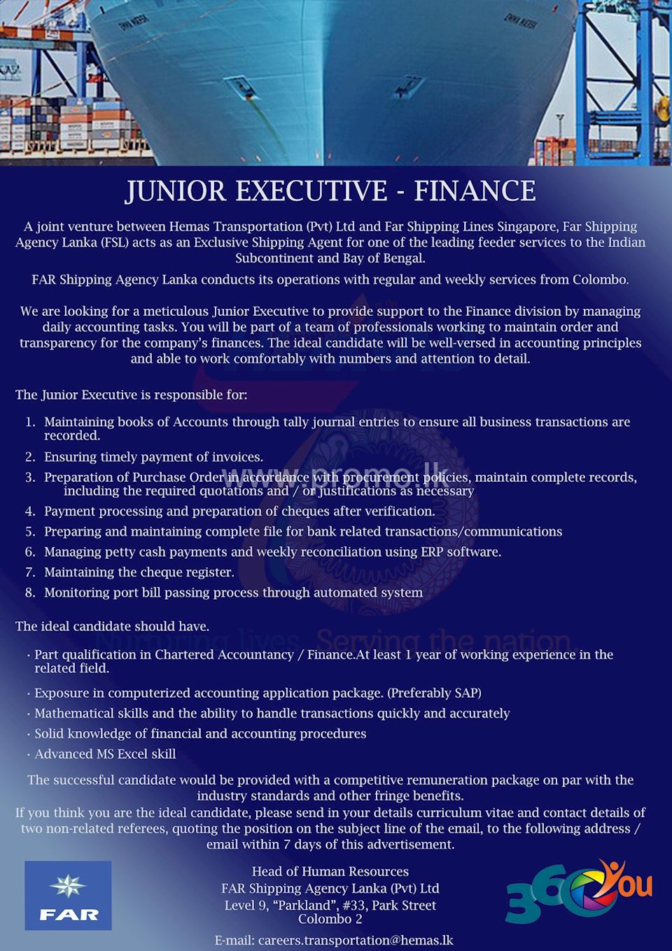 Junior Executive - Finance