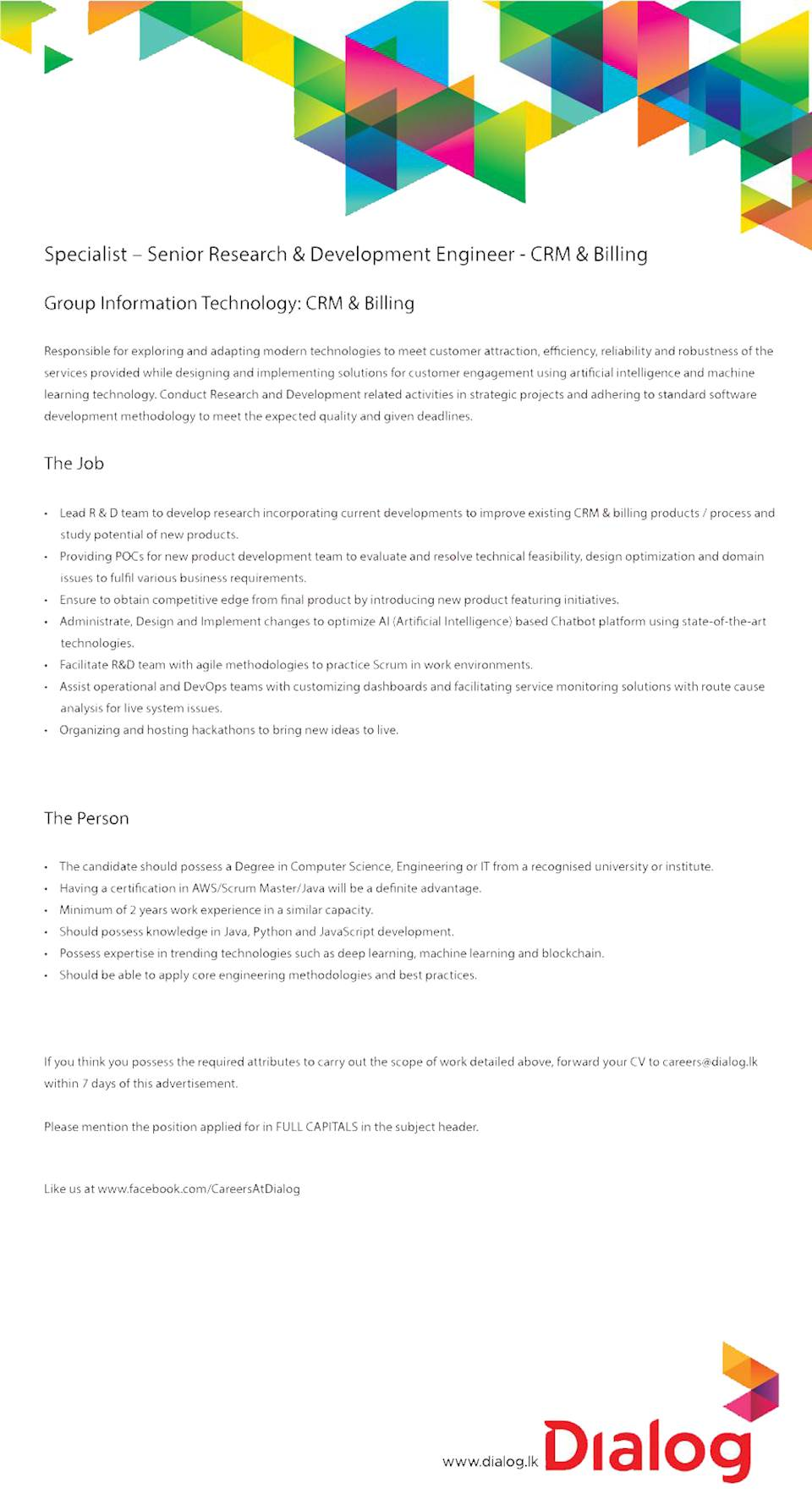 Specialist - Senior Research & Development Engineer - CRM & Billing