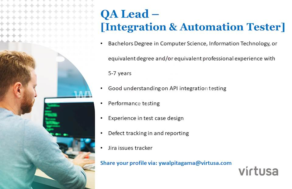 QA Lead - (Integration & Automation Tester)
