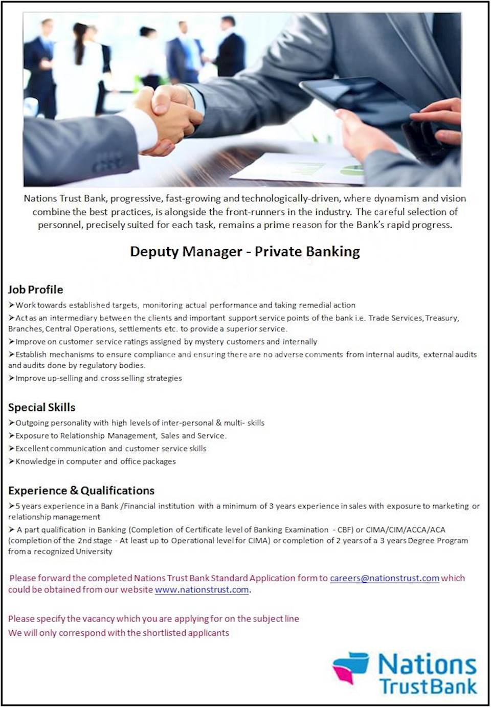 Deputy Manager - Private Banking