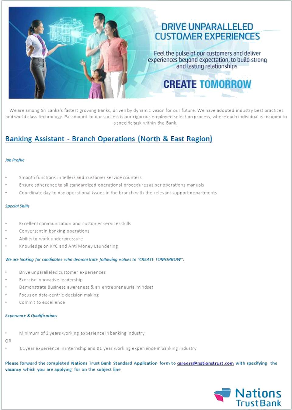 Banking Assistant - Branch Operations (North & East Region)