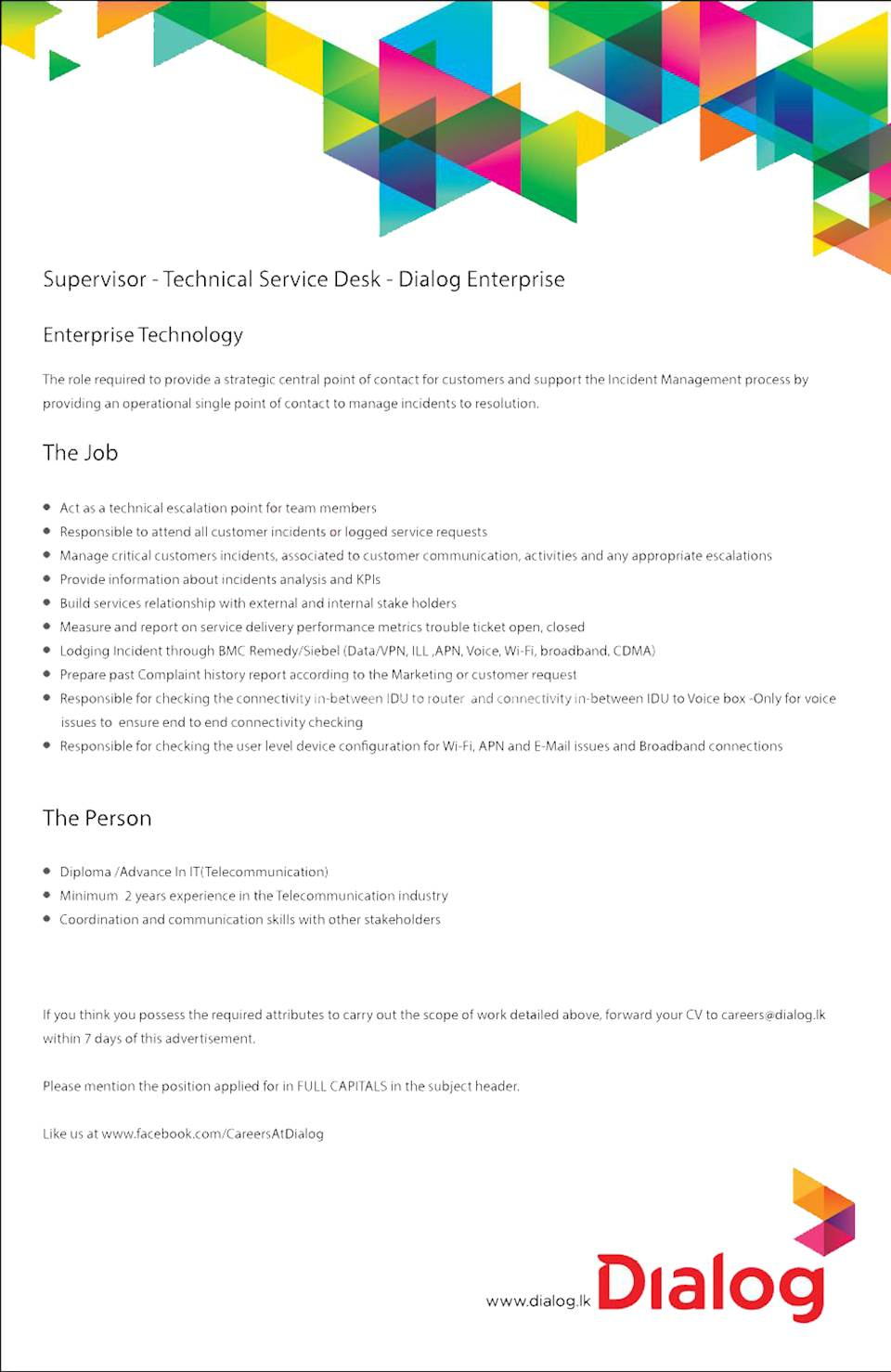 Supervisor - Technical Service Desk - Dialog Enterprise