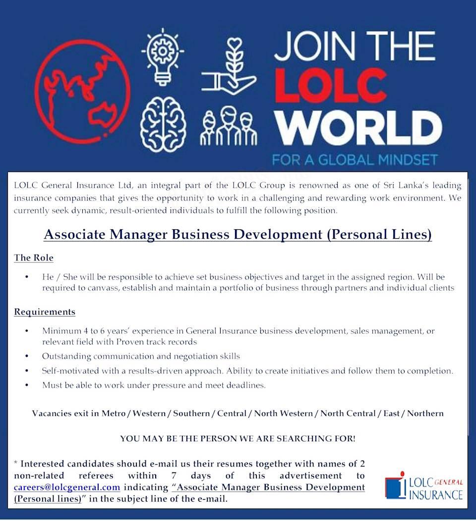 Associate Manager Business Development (Personal Lines)