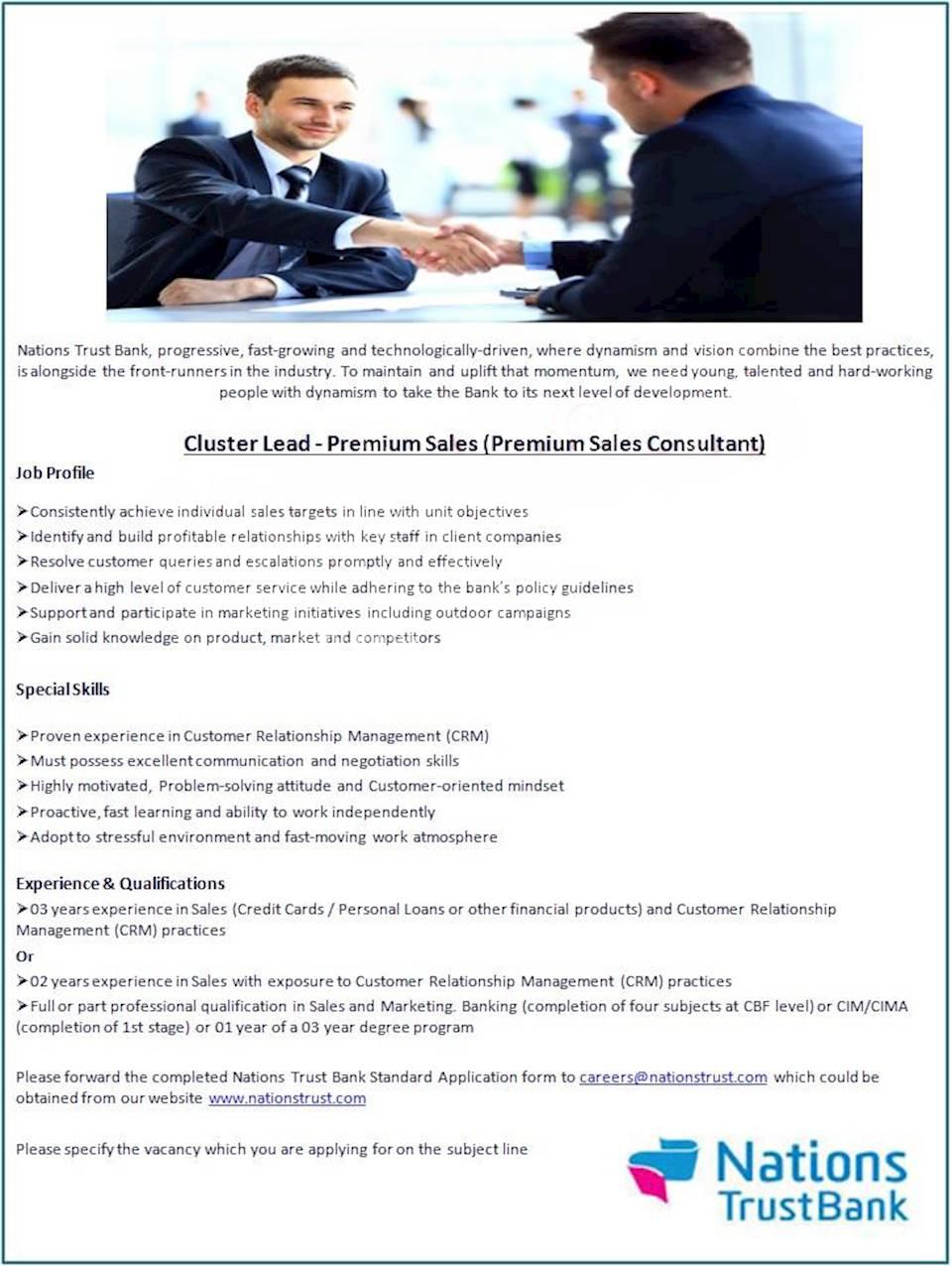 Cluster Lead - Premium Sales (Premium Sales Consultant)