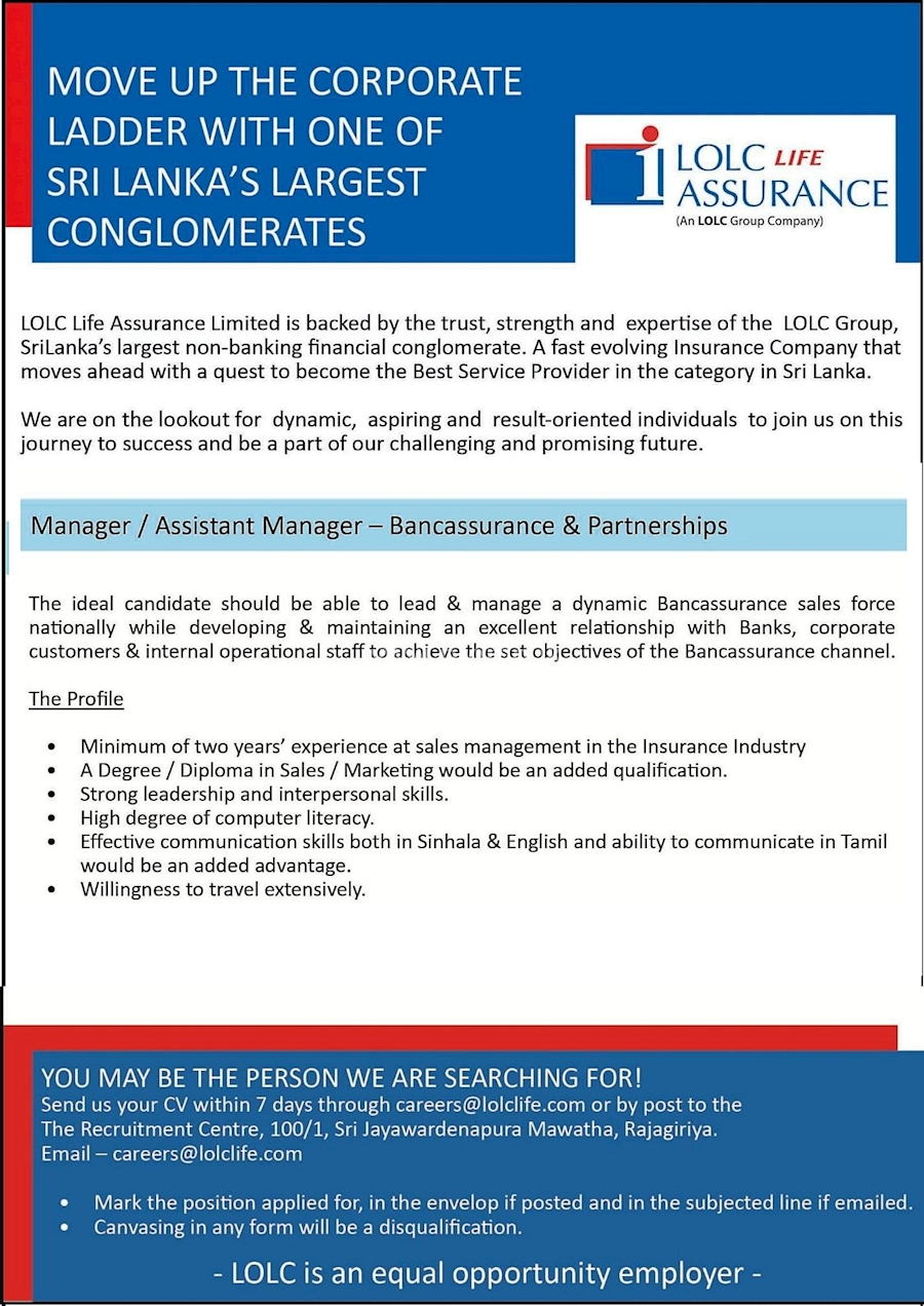 manager or assistant manager  bancassurance and