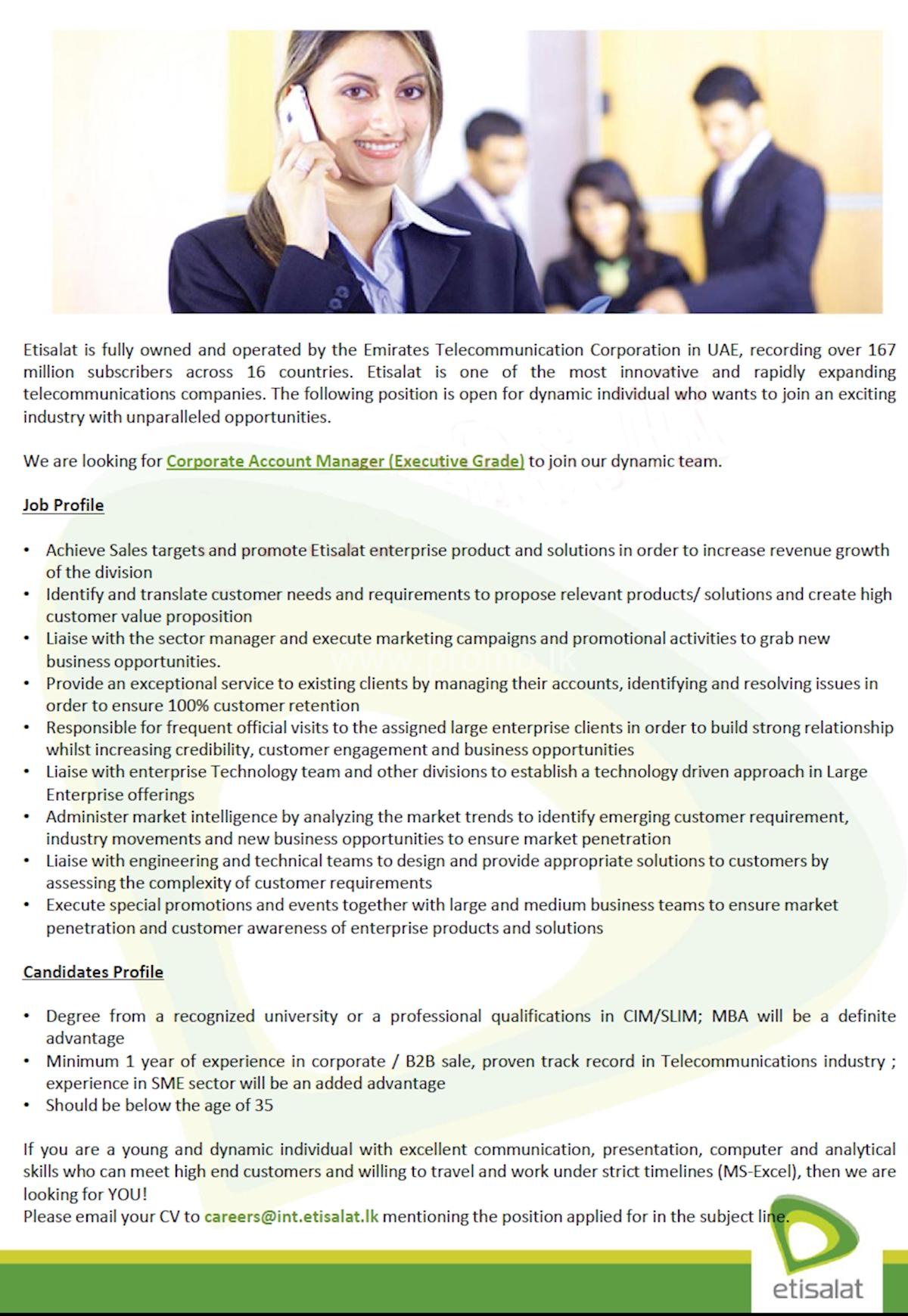 Corporate Account Manager (Executive Grade)