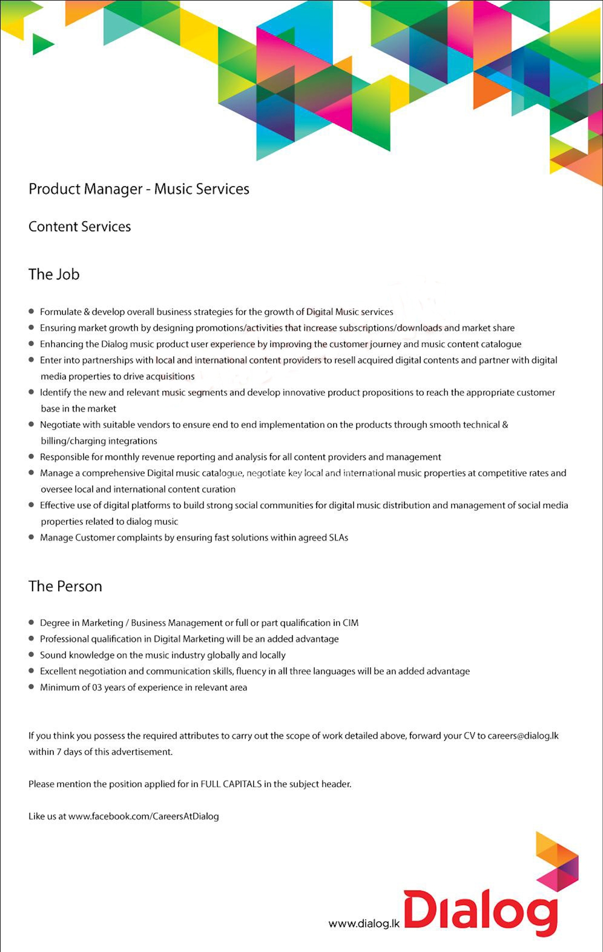 Product Manager - Music Services at Dialog Axiata
