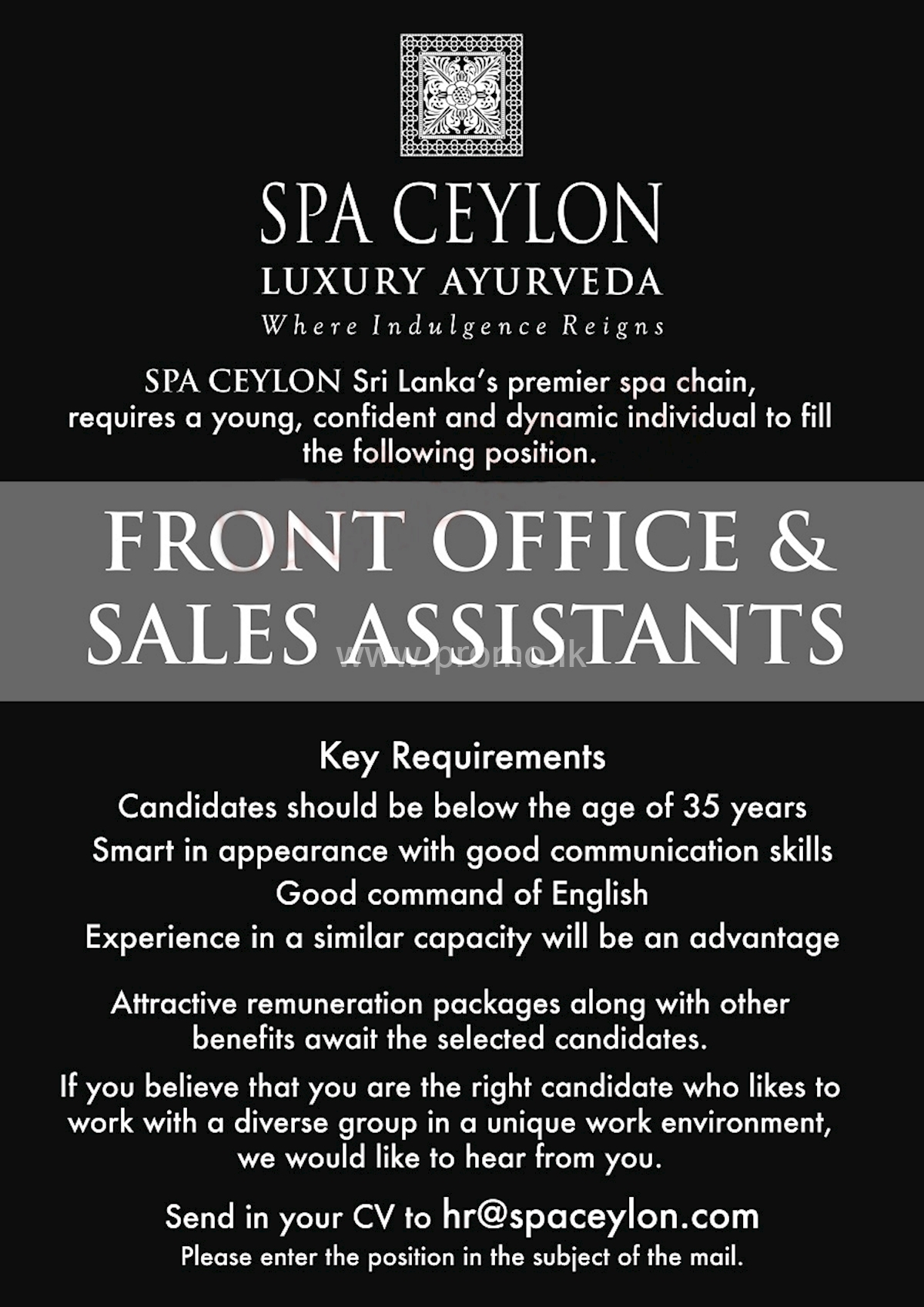 Front Office and Sales Assistants at Spa Ceylon Luxury Ayurveda