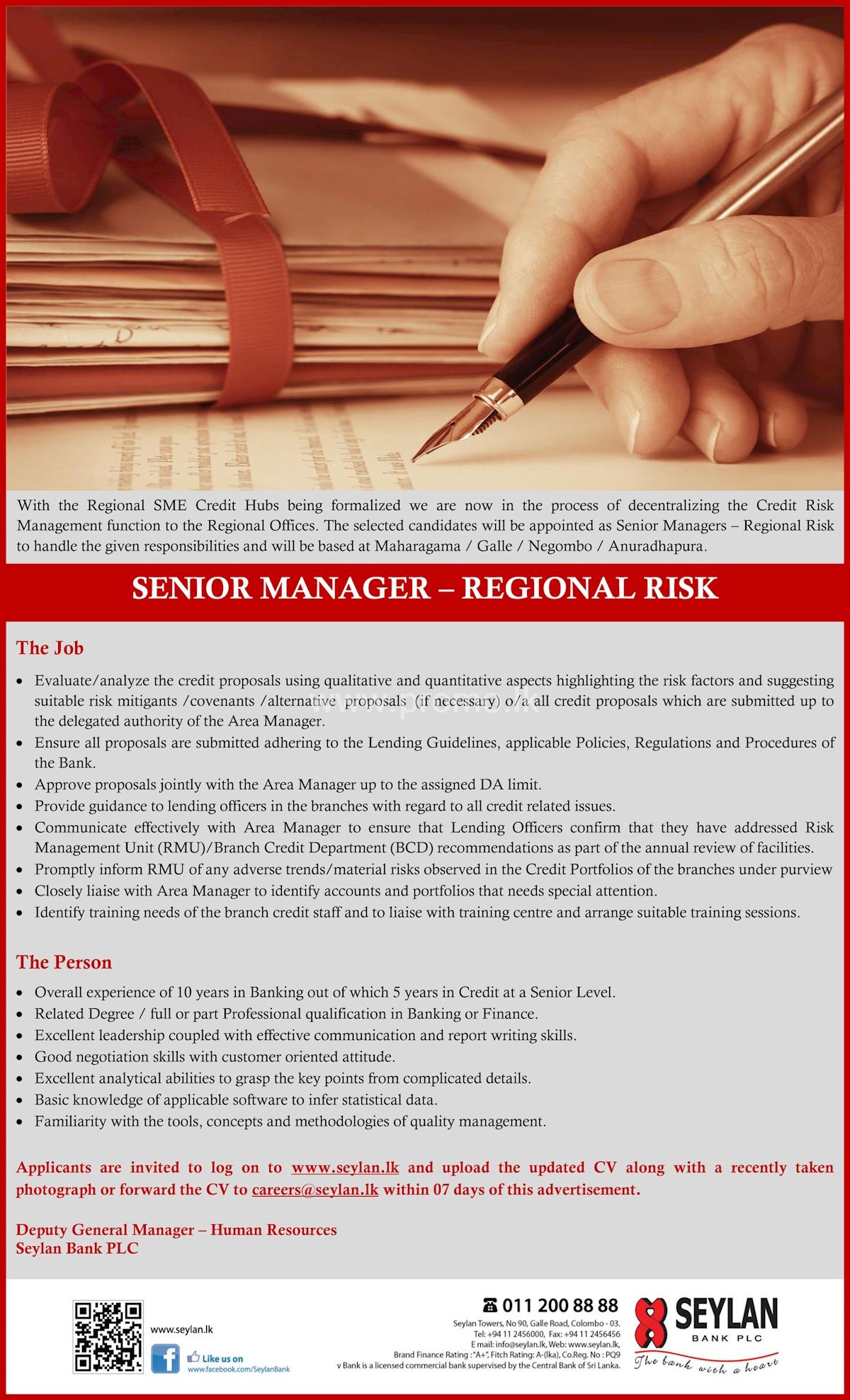 Senior Manager - Regional Risk