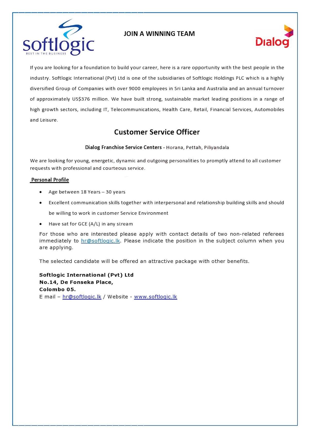 Customer Service Officer at Softlogic Holdings PLC