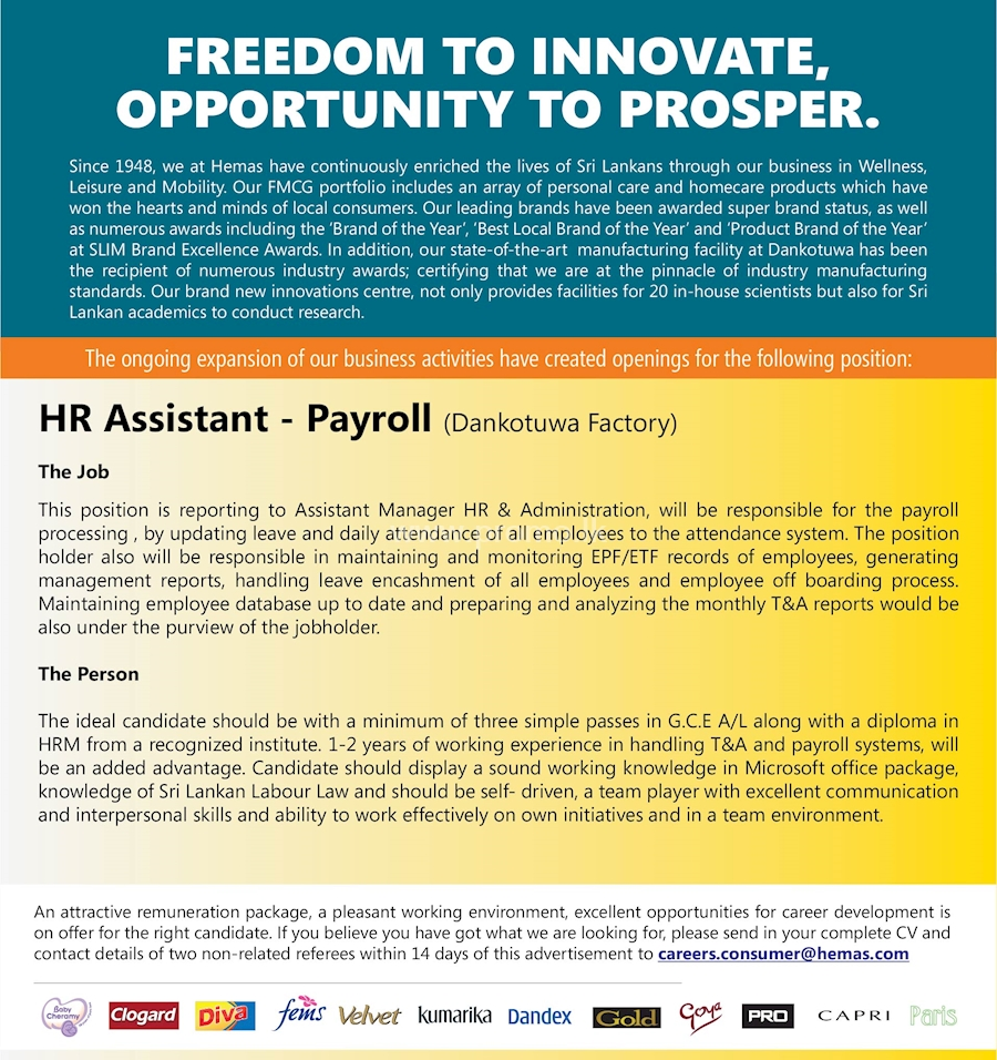 HR Assistant - Payroll at Hemas Holdings
