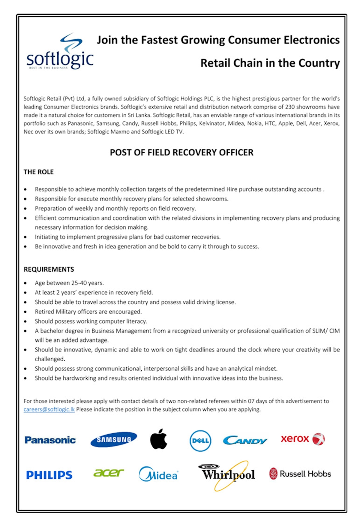 Post of Field Recovery Officer