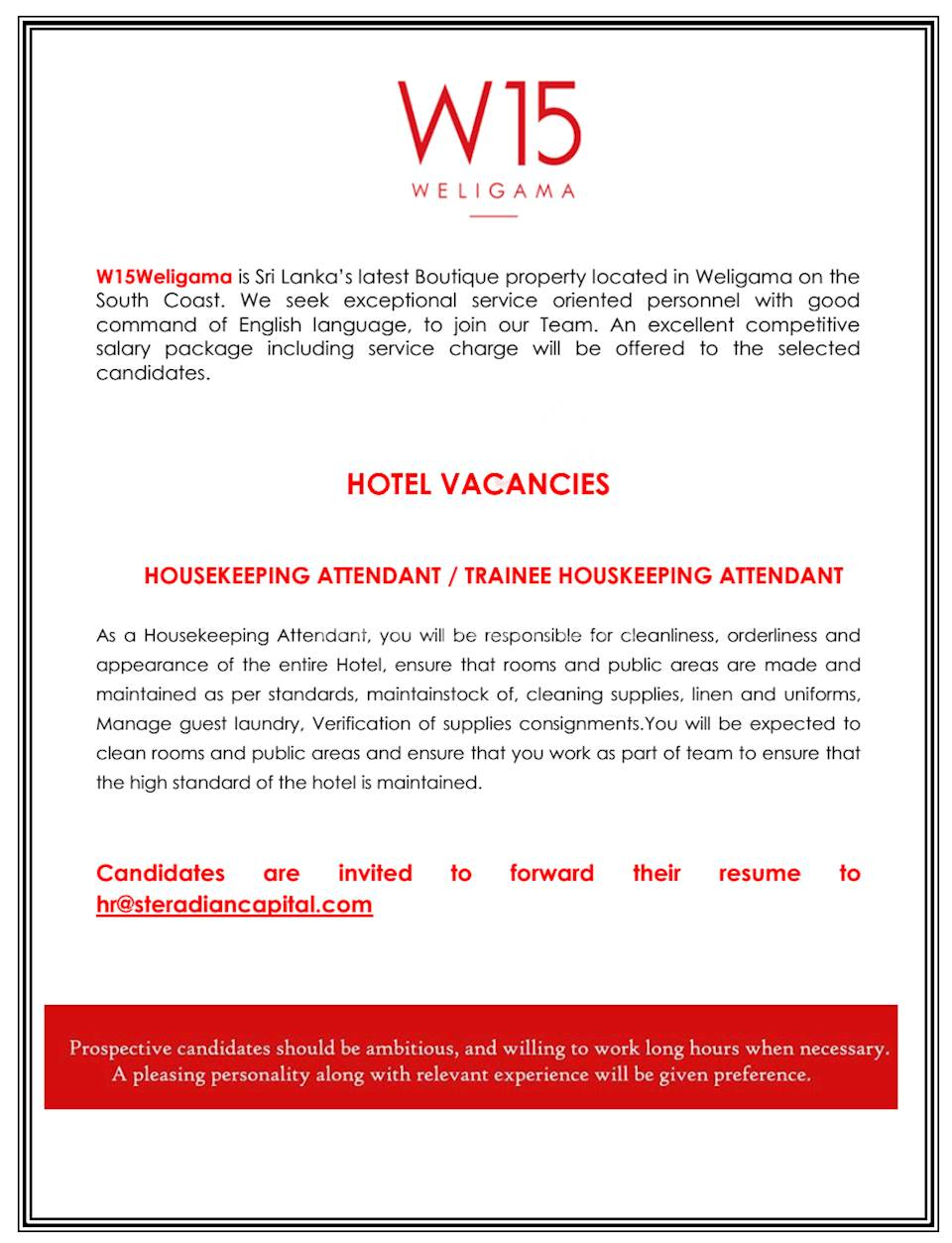 Housekeeping Attendant / Trainee Housekeeping Attendant