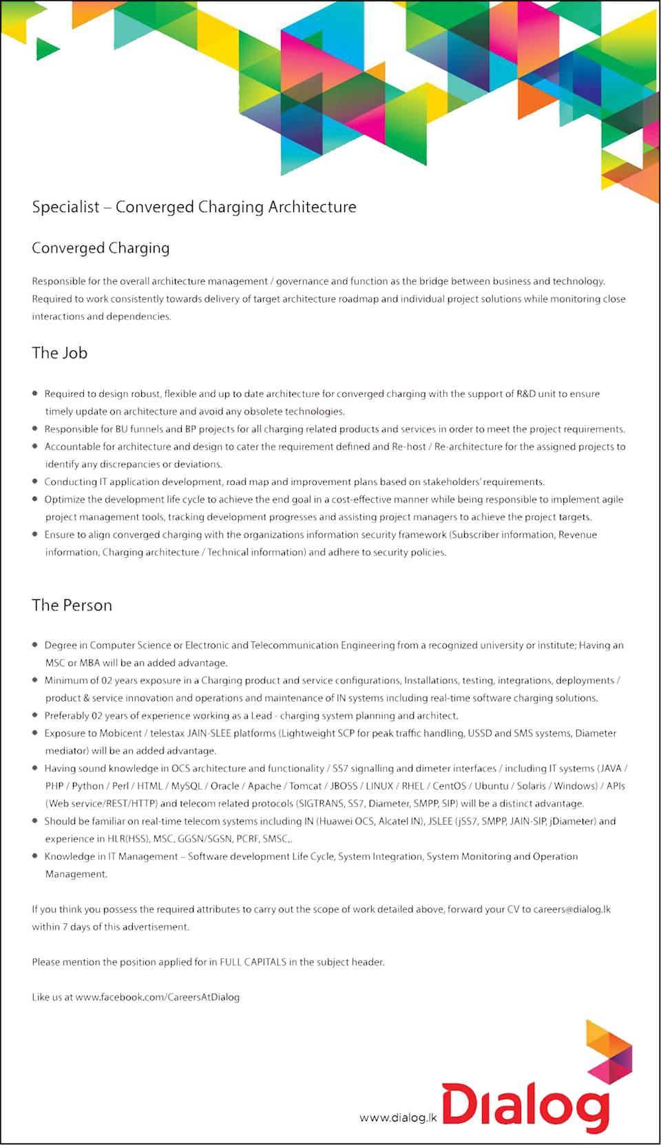 Specialist - Converged Charging Architecture