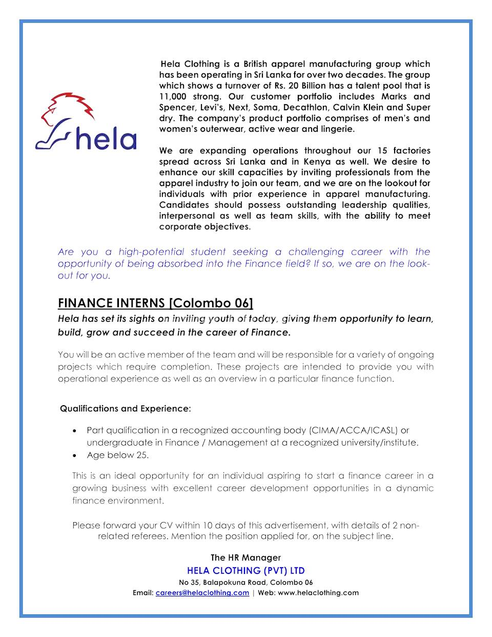 602be580a21 Finance Interns (Colombo 06) at Hela Clothing