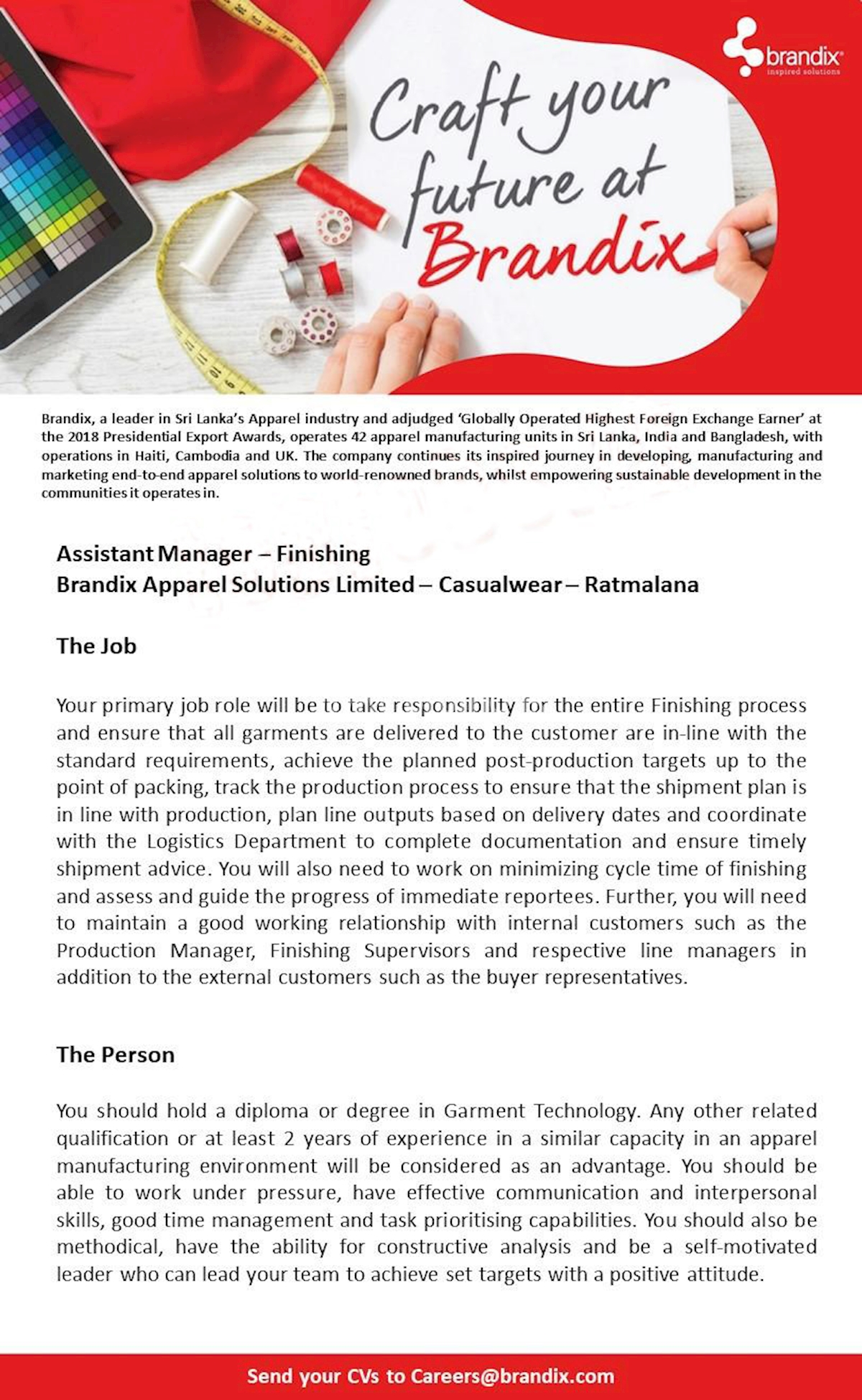 Assistant Manager - Finishing