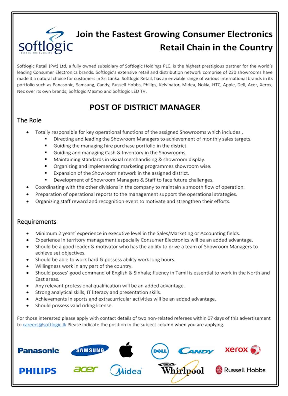 Post of District Manager at Softlogic Holdings PLC