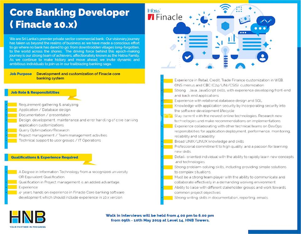 Core Banking Developer ( Finacle 10 x) at Hatton National Bank