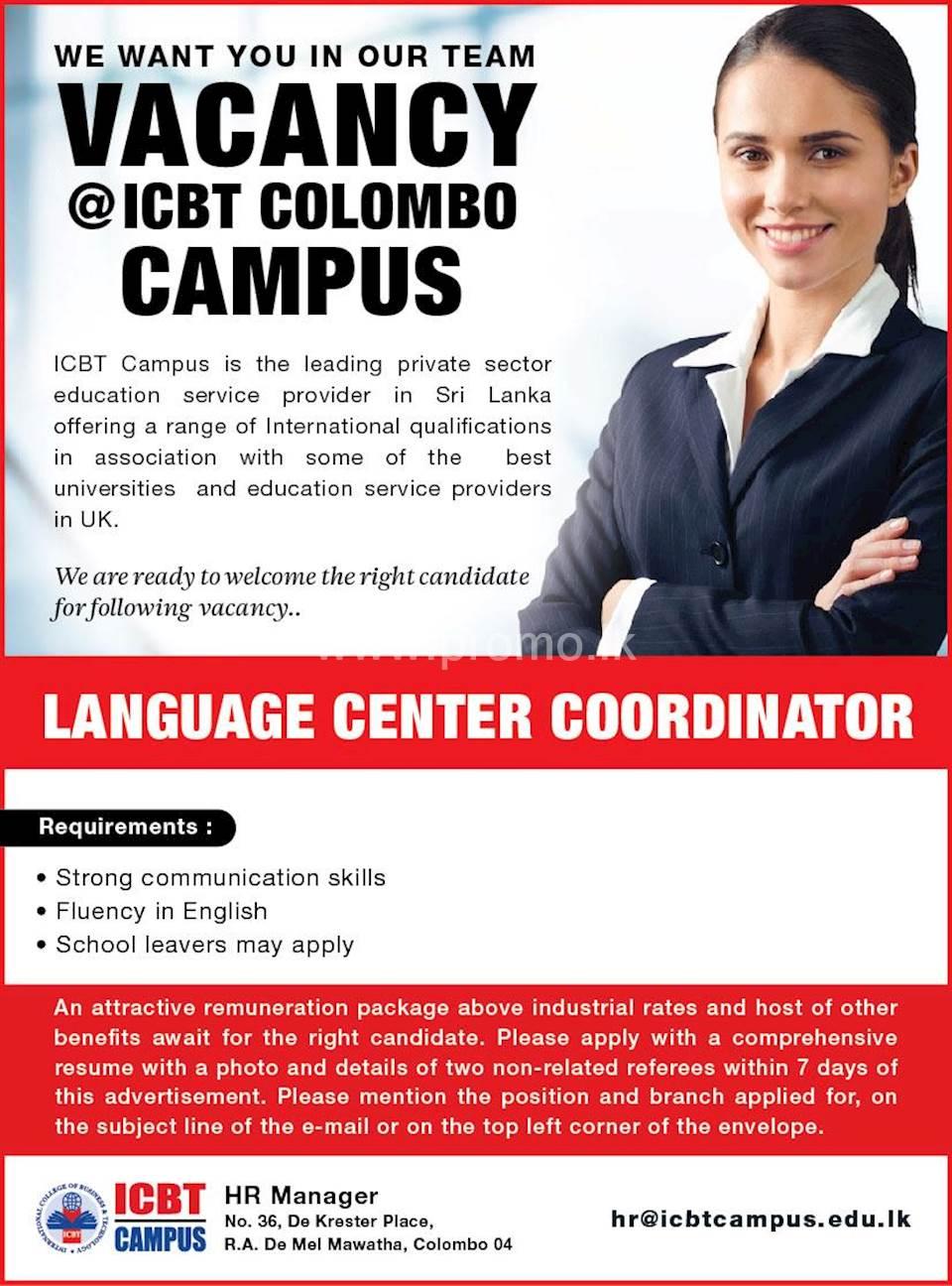 Language Center Coordinator at ICBT Campus