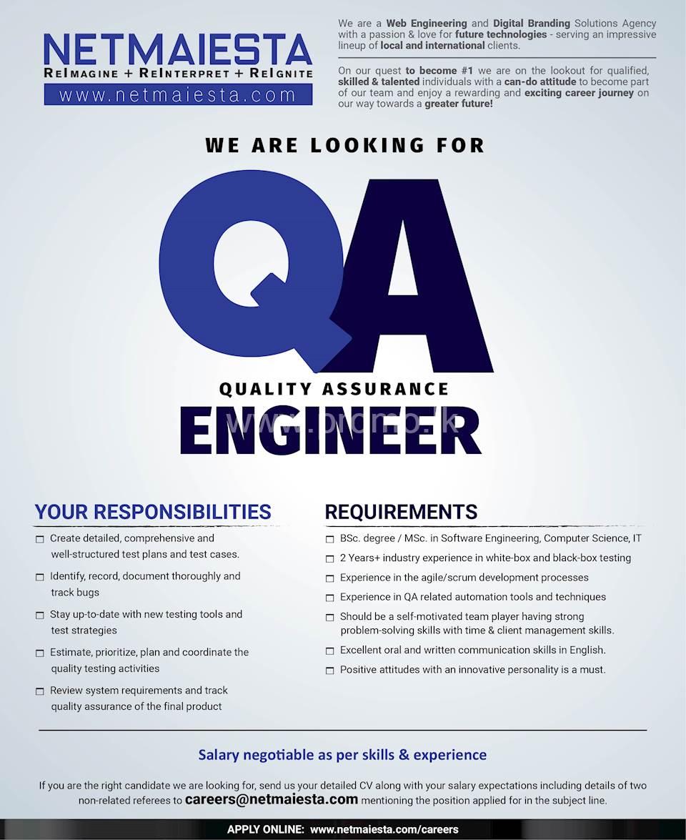 Quality Assurance Engineer at Netmaiesta (Pvt) ltd