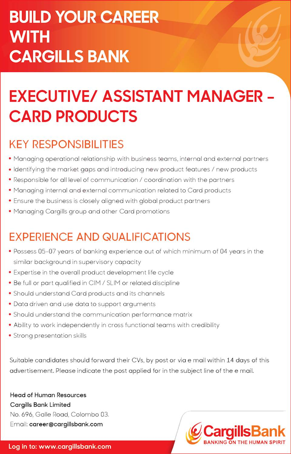 Executive / Assistant Manager - Card Products