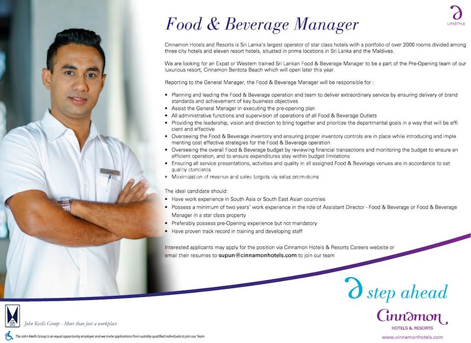 Food & Beverage Manager at Cinnamon Hotels