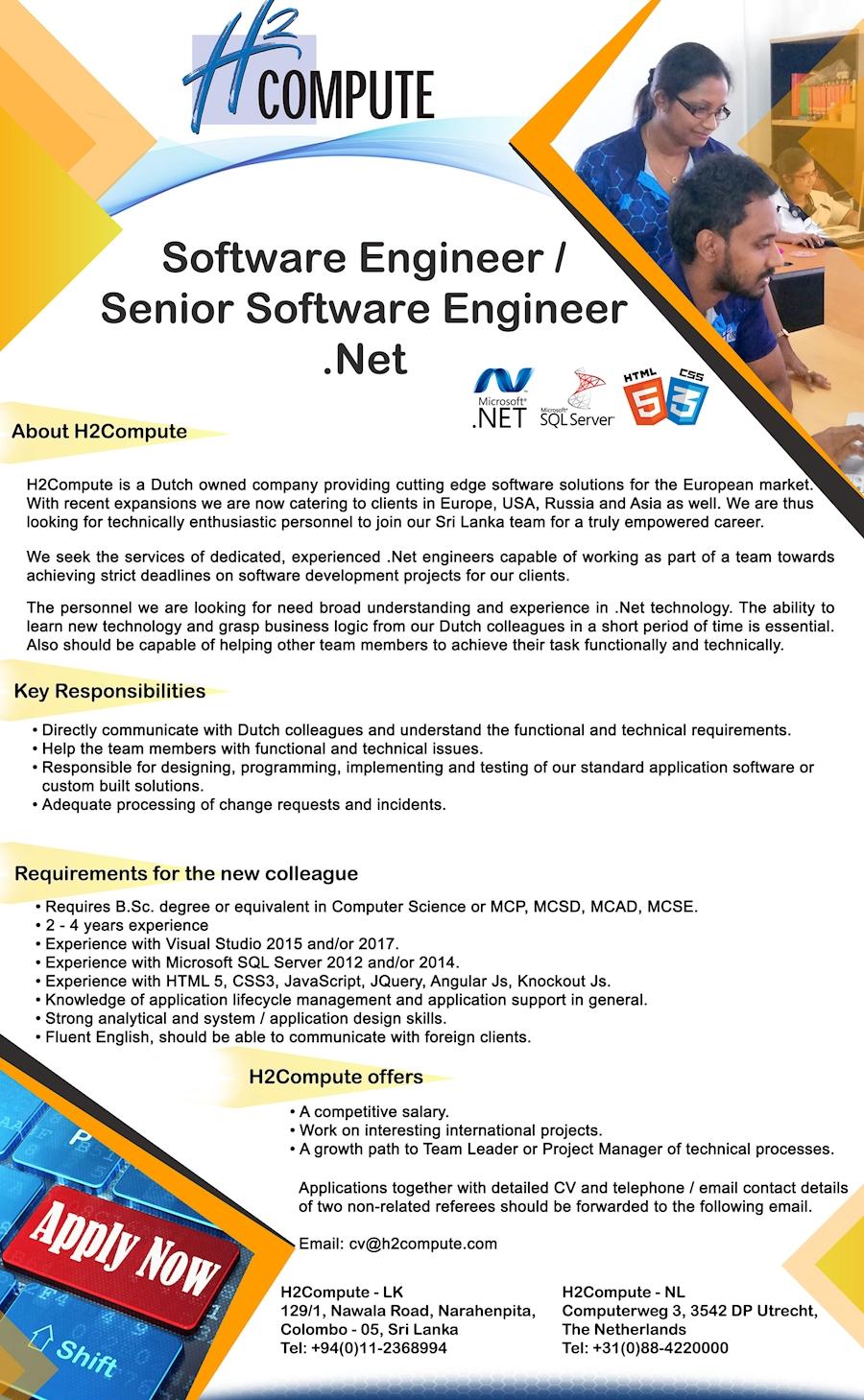 Software Engineer / Senior Software Engineer  Net at H2Compute