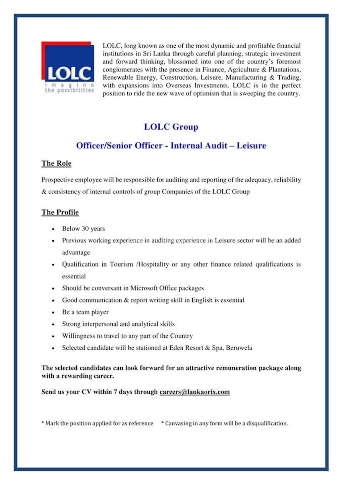 Officer/Senior Officer - Internal Audit - Leisure