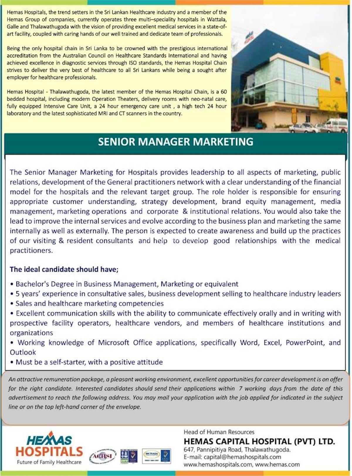 Senior Manager Marketing at Hemas Hospitals