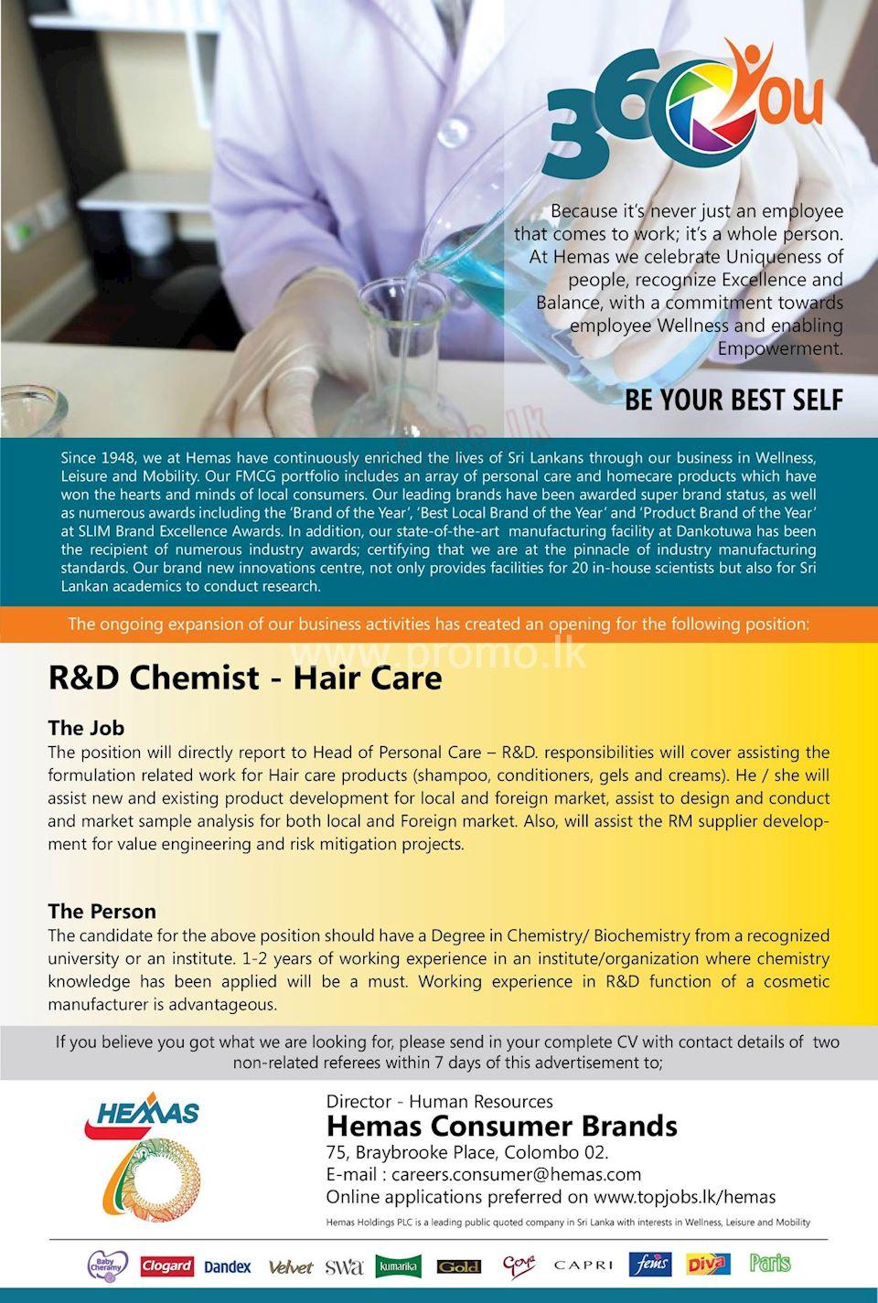 R&D Chemist - Hair Care