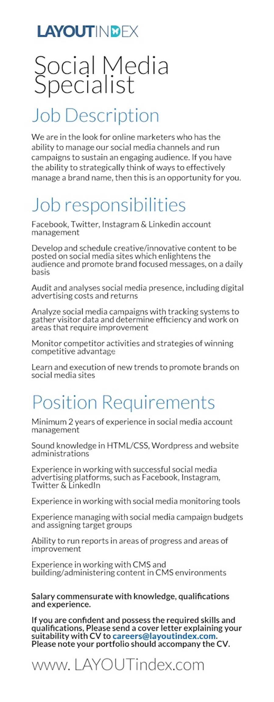 SOCIAL MEDIA SPECIALIST at LAYOUTINDEX at Layout Index