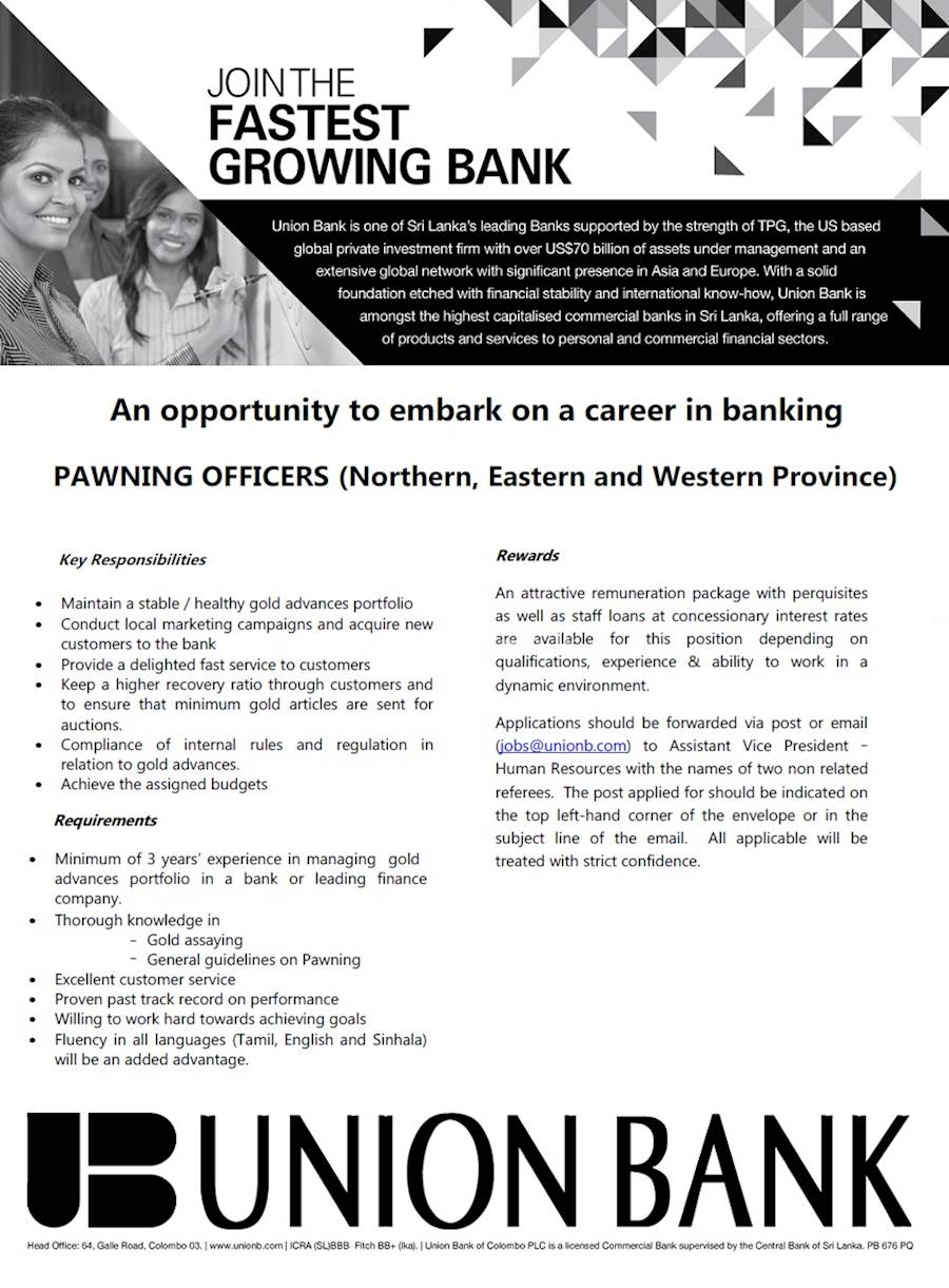 Vacancy for PAWNING OFFICERS at UNION BANK at Union Bank